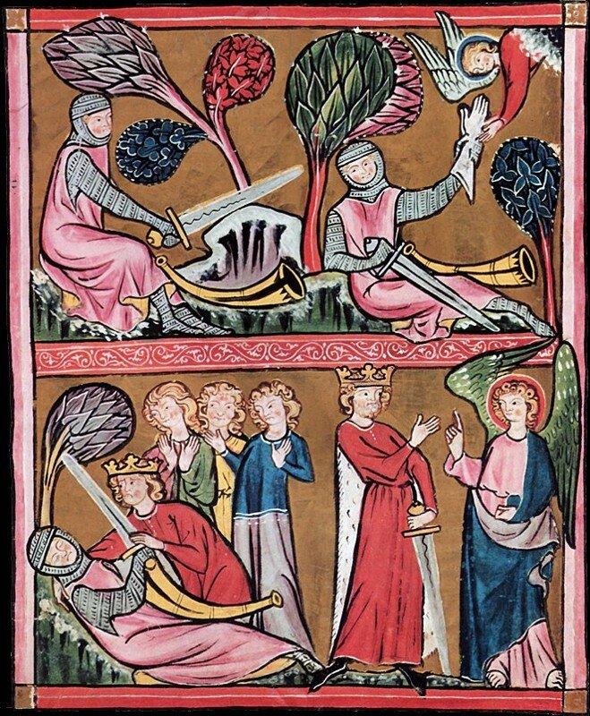 Karol Wielki Miniatury zRękopisu zSt. Gallen (Szwajcaria) Źródło: Karol Wielki, koniec XIII wieku, Stadtsbibliothek (Vadiana), domena publiczna.