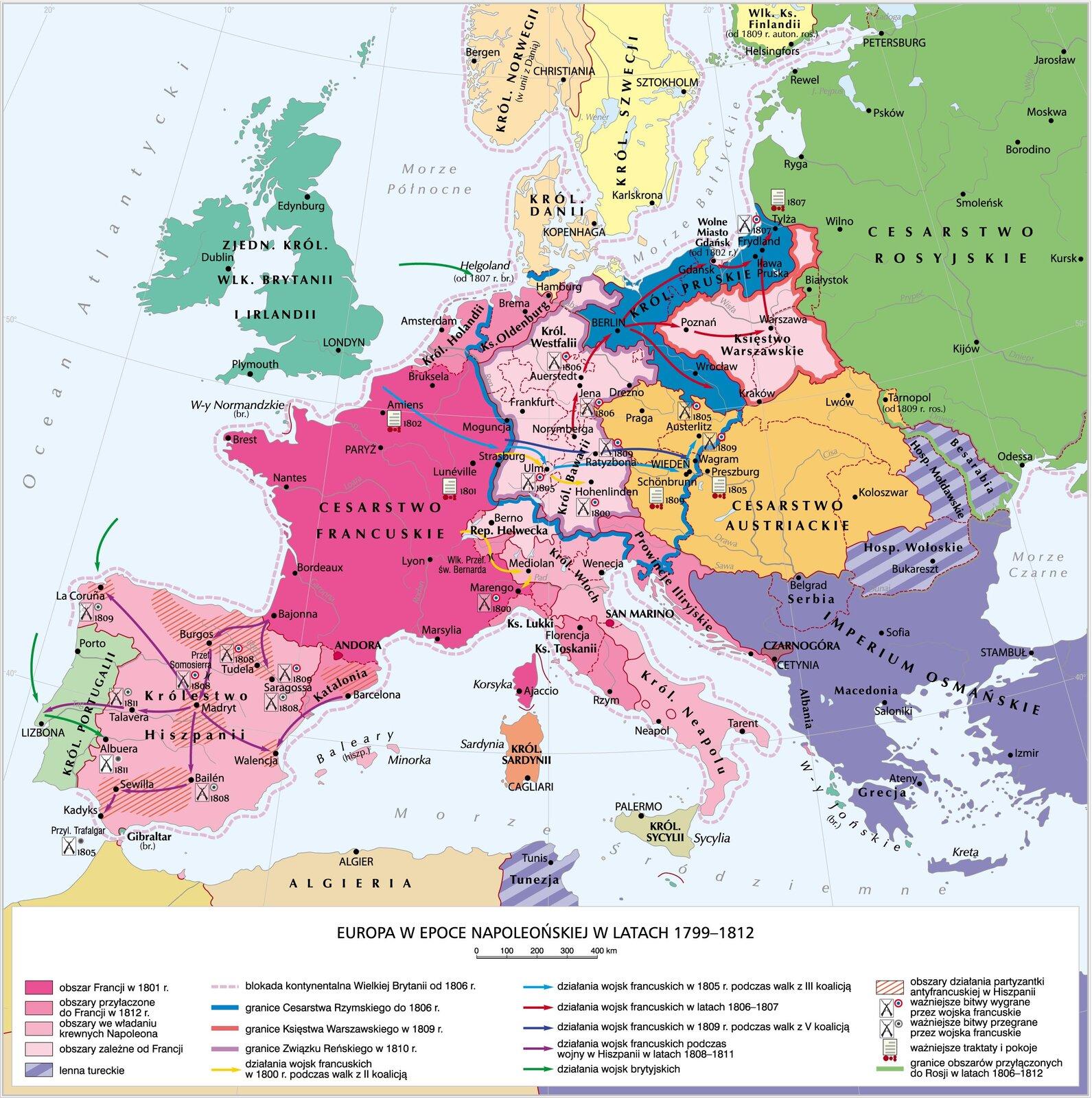 Europa wepoce napoleońskiej wlatach 1799–1812 Europa wepoce napoleońskiej wlatach 1799–1812 Źródło: Krystian Chariza izespół, licencja: CC BY 3.0.