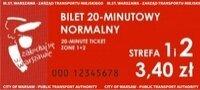 Fotografia przedstawiająca bilet 20-minutowy