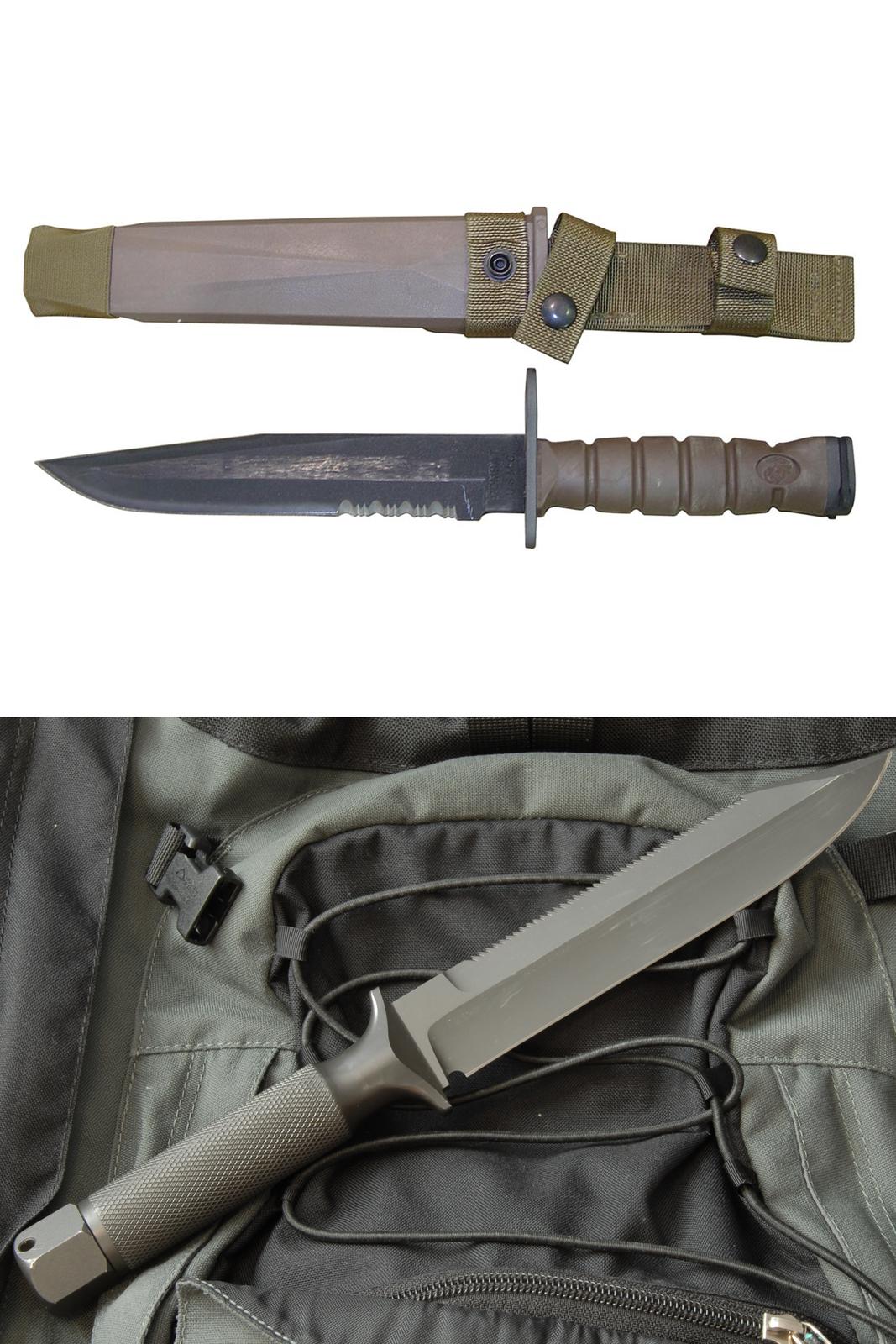 broń biała. Zdjęcie składa się zdwóch części. Zdjęcie górne to nóż oraz kabura. Ostrze noża skierowane wlewo, rękojeść noża ma 5 pionowych nacięć. Ostrze noża zakończone jest kilkoma ząbkami przy rękojeści. Dolne zdjęcie przedstawia bagnet.
