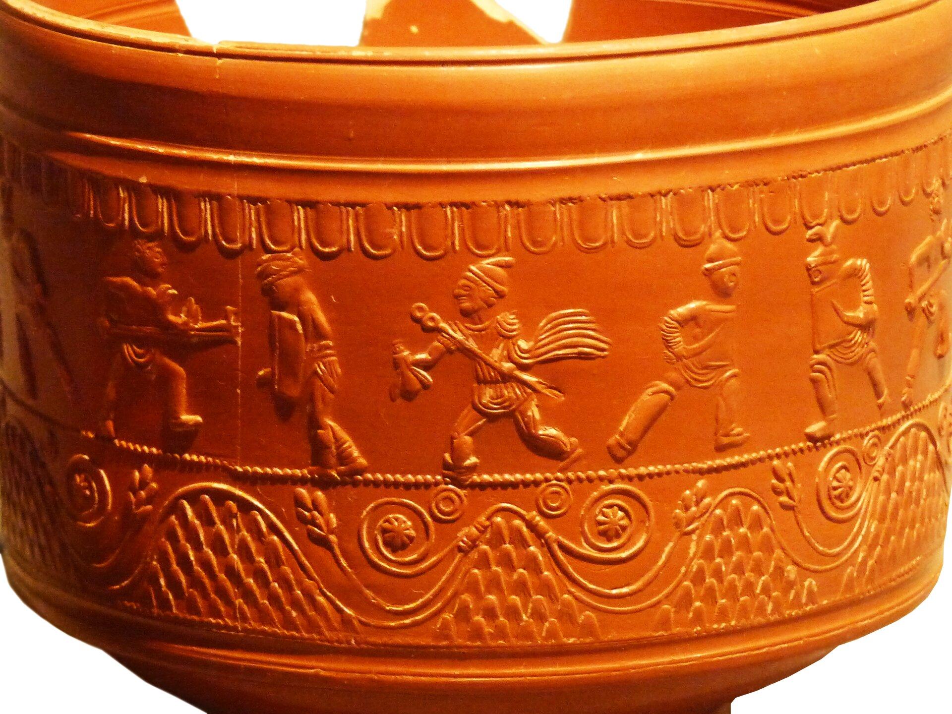 Scena walk gladiatorów na ceramice rzymskiej zterenu Hiszpanii Scena walk gladiatorów na ceramice rzymskiej zterenu Hiszpanii Źródło: Ecelan, domena publiczna.