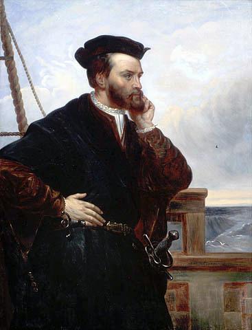 Jacques Cartier Źródło: Theophile Hamel, Jacques Cartier, ok. 1844, olej na płótnie, Library and Archives Canada, domena publiczna.