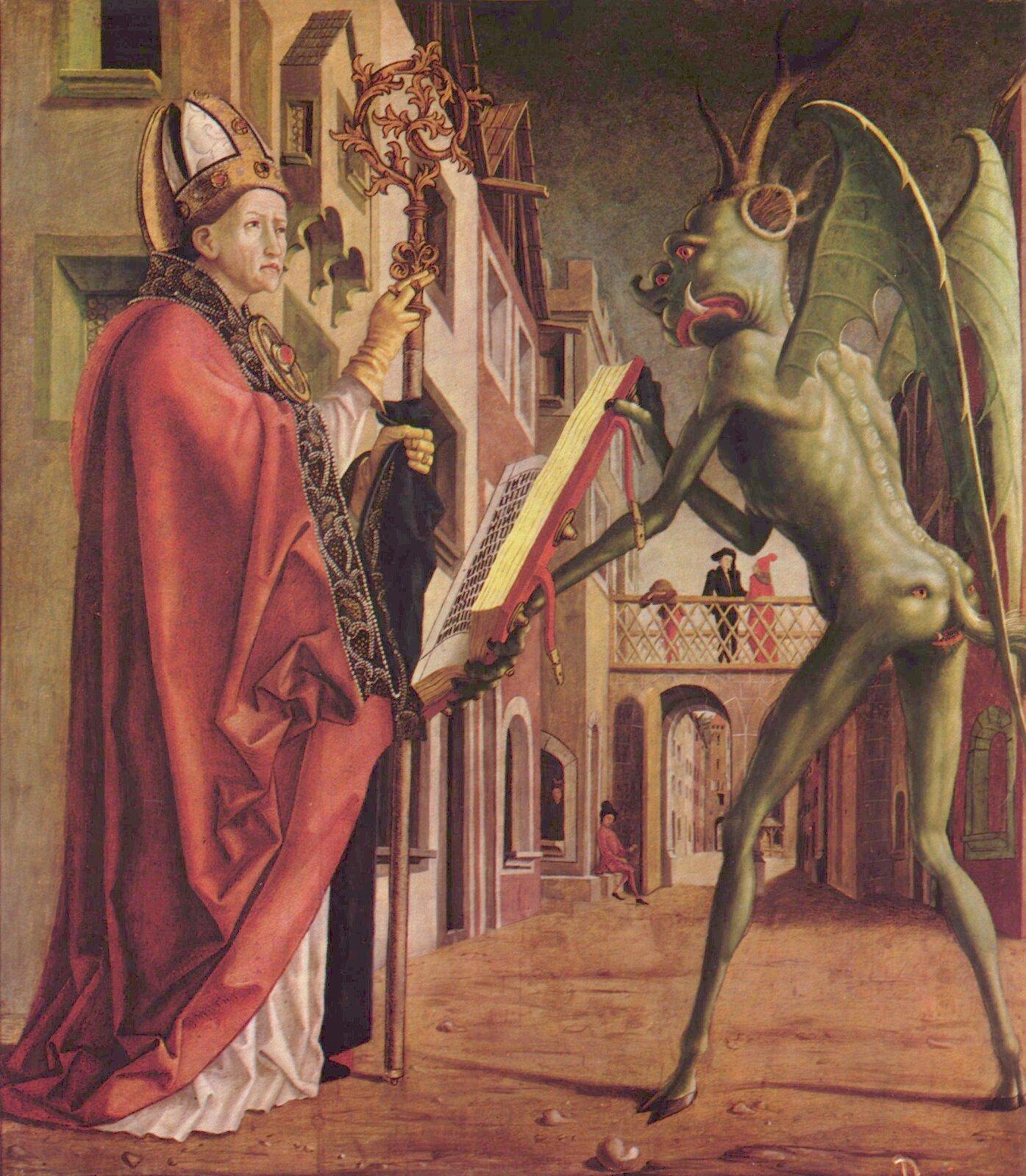 Michael Pacher, Święty Augustyn (Święty Wolfgang)idiabeł, 1483, olej na panelu Michael Pacher, Święty Augustyn (Święty Wolfgang)idiabeł, 1483, olej na panelu Źródło: domena publiczna.
