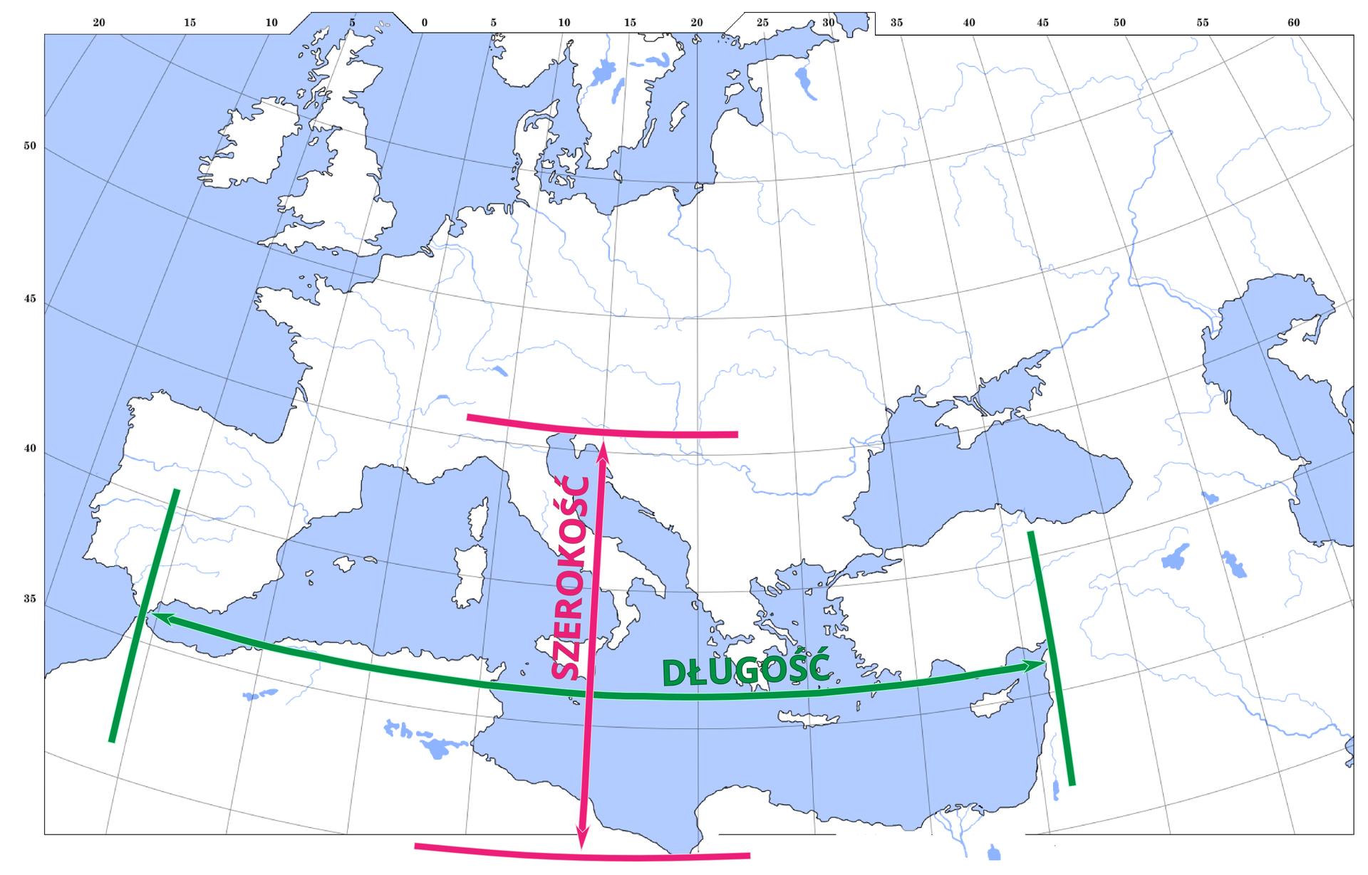 Ilustracja przedstawia mapę. Powierzchnia lądów jest zaznaczona na biało. Kontury mapy czarne. Kolor niebieski to obszary pokryte wodą. Większa część mapy przedstawia Europę. Na dole mapy widoczne pionowe ipoziome linie. Pionowa linia jest różowa. Górny grot strzałki sięga północnej części Włoch. Na dole grot strzałki sięga do północnego wybrzeża Afryki. Pionowa linia wskazuje rozciągłość Morza Śródziemnego na północ ipołudnie. Wzdłuż linii napis: szerokość. Pozioma linia jest zielona. Lewy grot strzałki zielonej linii sięga zachodniego krańca Morza Śródziemnego. Prawy grot zielonej poziomej linii sięga drugiego końca Morza Śródziemnego – wschodniego. Wzdłuż tej linii napis: długość. Cała mapa pokryta jest siatką południków irównoleżników.