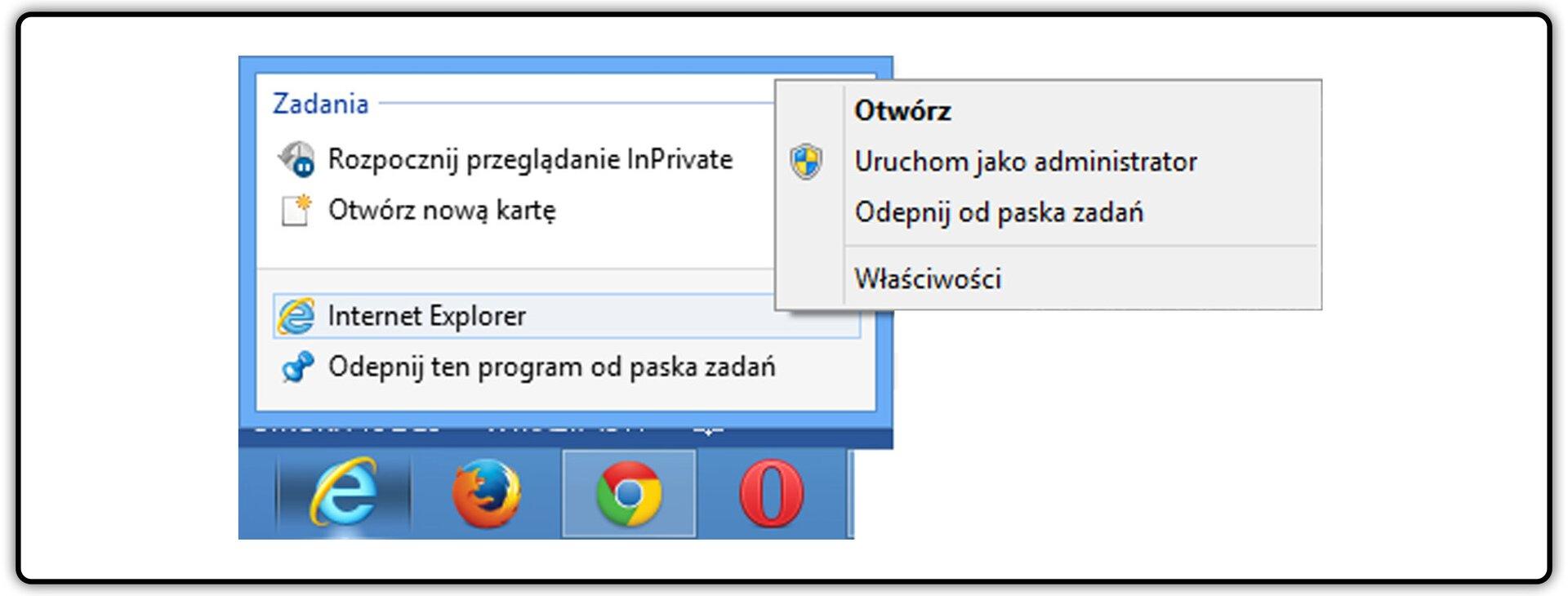Zrzut okna menu kontekstowego przeglądarki Internet Explorer