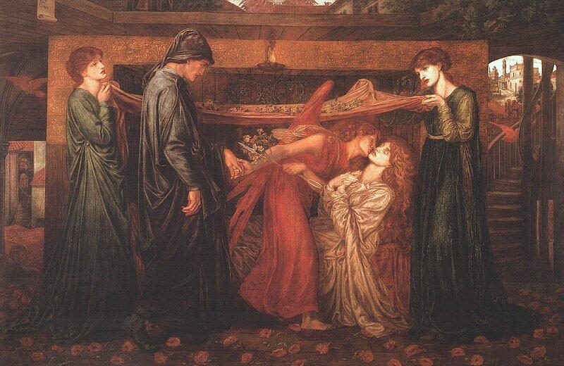 Sen Dantego wchwili śmierci Beatrycze Źródło: Dante Gabriel Rosetti, Sen Dantego wchwili śmierci Beatrycze, 1871.
