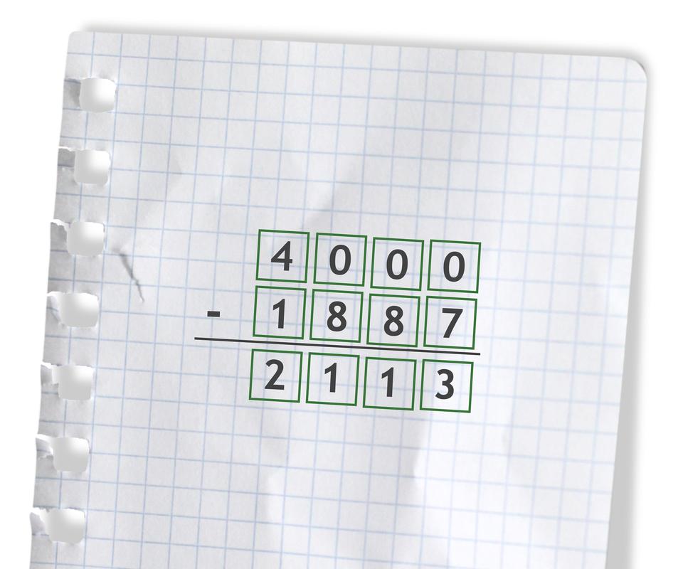 Przykład: 4000 -1887 =2113. Rozwiązanie zadania podpunkt d.