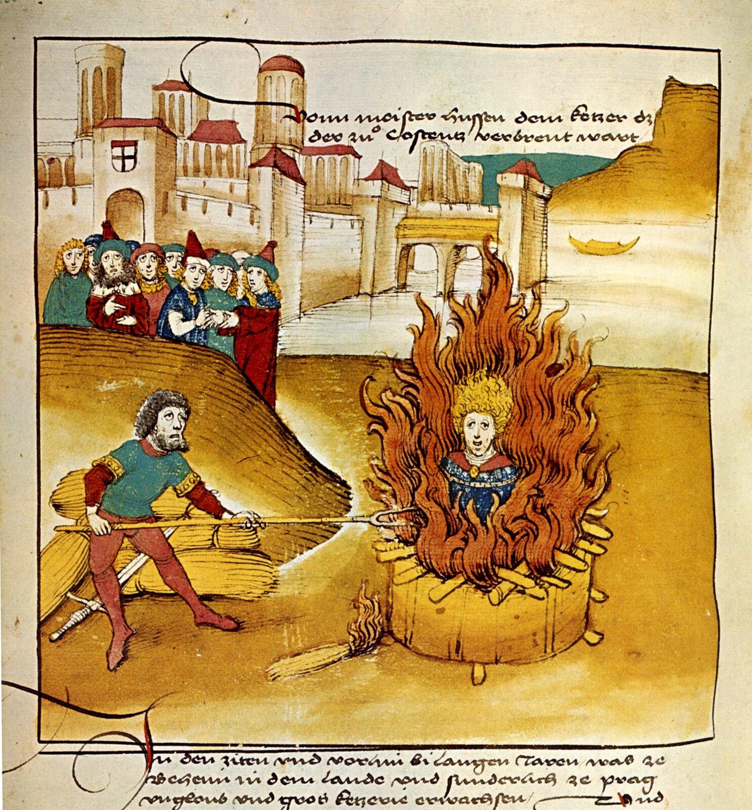 Spalenie Husa Źródło: Spiezer Chronik, Diebold Schilling starszy, Spalenie Husa, 1485, domena publiczna.