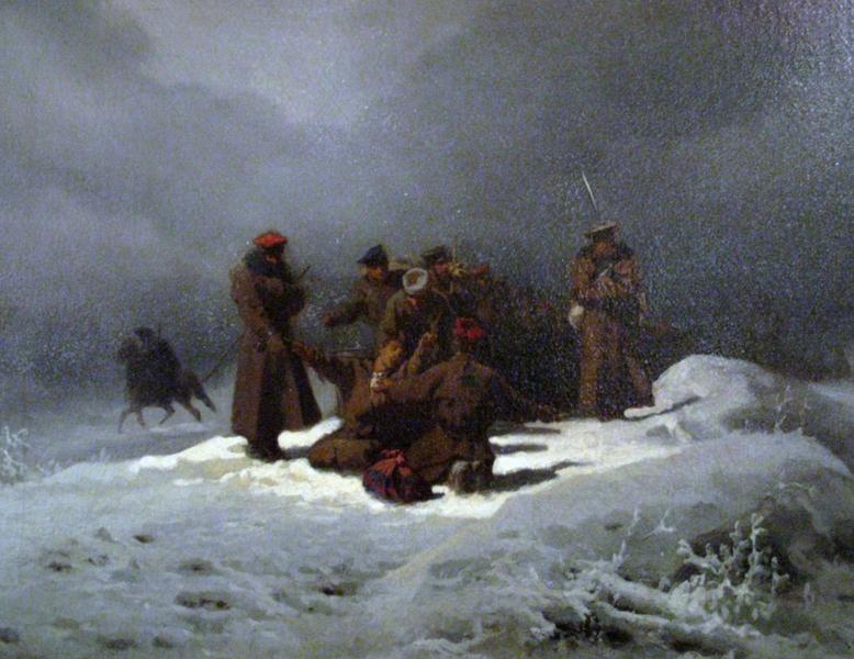 Pochód na Sybir Źródło: Artur Grottger, Pochód na Sybir, 1866, olej na płótnie, licencja: CC 0, [online], dostępny winternecie: https://commons.wikimedia.org/wiki/File:Foot-March_to_Syberia.PNG [dostęp 17.10.2015 r.].