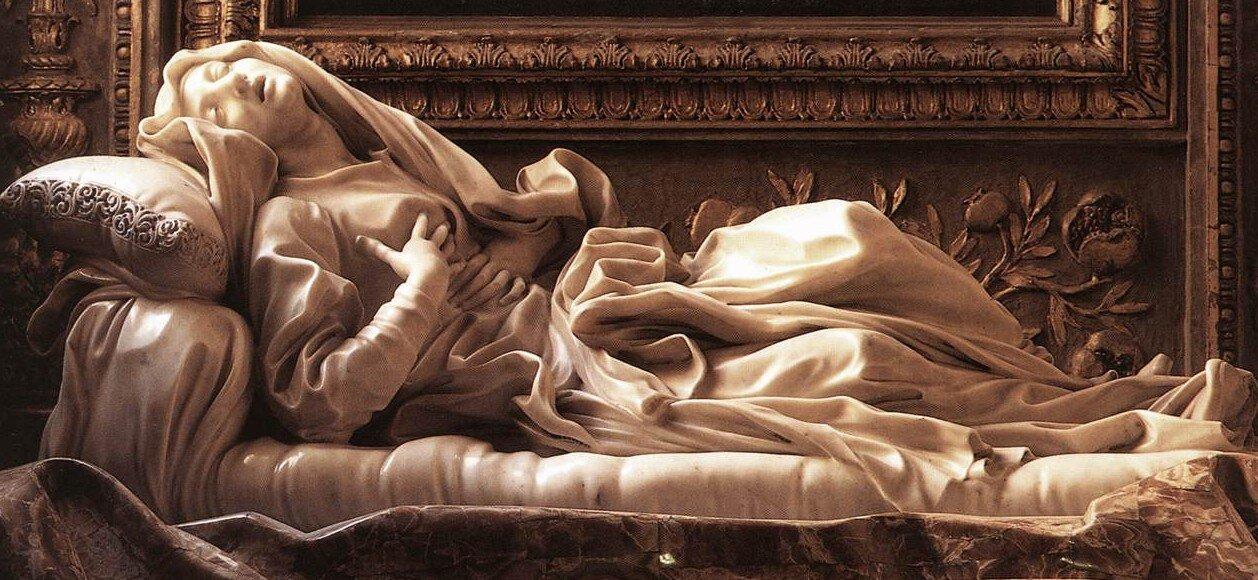 Przeżyciamistycznych doznań religijnych – rzeźba Błogosławionej Ludwiki Albertoni (ok. 1671) Gianlorenzo Berniniego (1598-1680) wkościele S. Francesco aRipa wRzymie. Przeżyciamistycznych doznań religijnych – rzeźba Błogosławionej Ludwiki Albertoni (ok. 1671) Gianlorenzo Berniniego (1598-1680) wkościele S. Francesco aRipa wRzymie. Źródło: Gian Lorenzo Bernini, ok. 1671, domena publiczna.