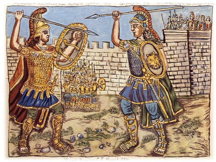 Pojedynek Achillesa iHektora Źródło: Theophilos Hatzimihail, Pojedynek Achillesa iHektora, domena publiczna.
