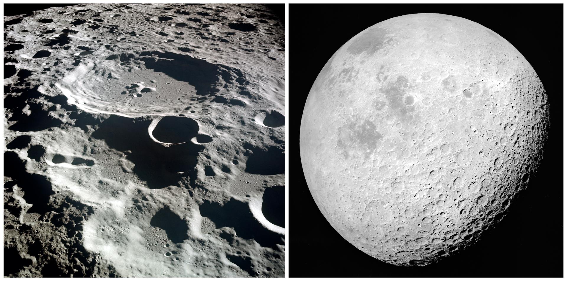 Ilustracja przedstawia dwa zdjęcia Księżyca. Fotografia po lewej stronie prezentuje krater Dedal po niewidocznej stronie Księżyca uwieczniony pod niewielkim kątem do powierzchni przez załogę misji Apollo 11. Zdjęcie po prawej stronie przedstawia niewidoczną zZiemi stronę Księżyca oświetlonego niemal całego przez Słońce obserwowanego zdalszej orbity.