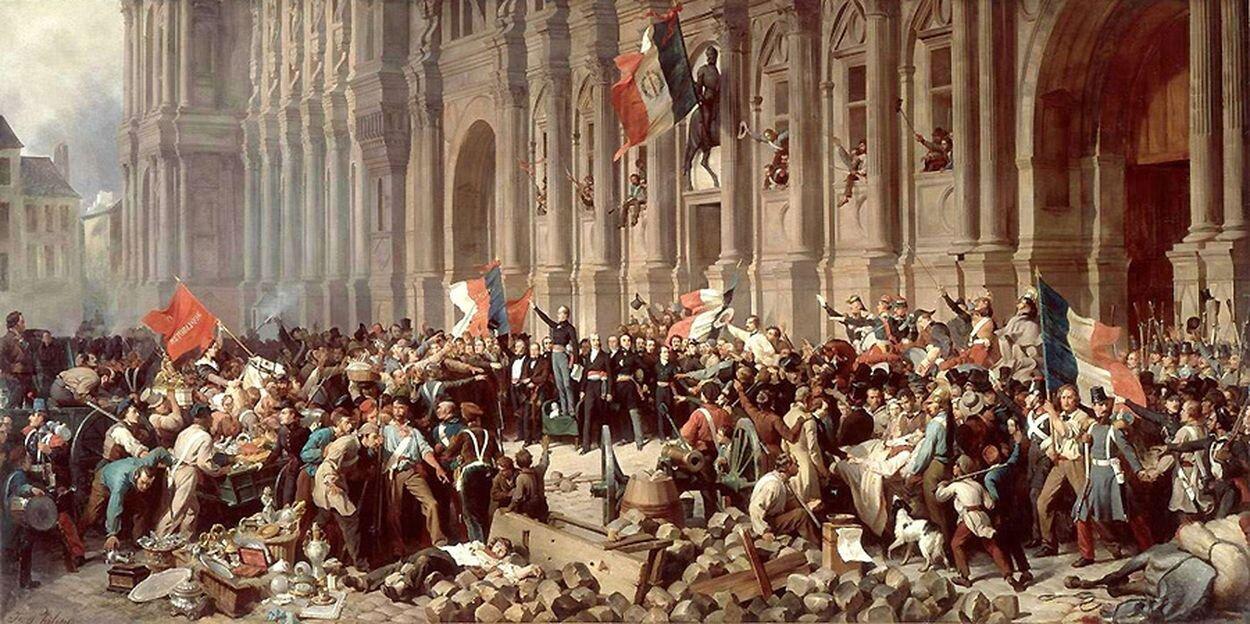 Lamartine pod paryskim ratuszem 25 lutego 1848 roku odmawia przyjęcia czerwonego sztandaru Źródło: Henri Félix Emmanuel Philippoteaux, Lamartine pod paryskim ratuszem 25 lutego 1848 roku odmawia przyjęcia czerwonego sztandaru, XIX wiek, olej na płótnie, Carnavalet Museum, domena publiczna.