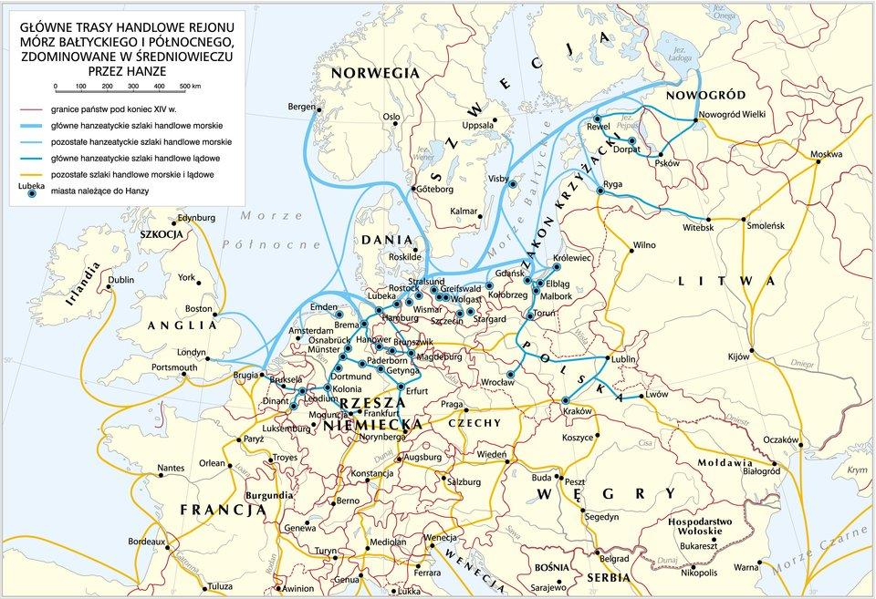 Główne trasy handlowe rejonu mórz Bałtyckiego iPółnocnego Główne trasy handlowe rejonumórz Bałtyckiego iPółnocnego, zdominowane wśredniowieczu przez Hanzę. Na południowych wybrzeżach zaznaczono następujące miasta (od zachodu): Brugia, Kolonia, Hamburg, Lubeka, Gdańsk, Ryga, Nowogród. Na M. Bałtyckim ważną rolę odgrywały też m.in.: Szczecin, Elbląg, Królewiec, Tallin (Rewal). Źródło: Krystian Chariza izespół, Główne trasy handlowe rejonu mórz Bałtyckiego iPółnocnego.