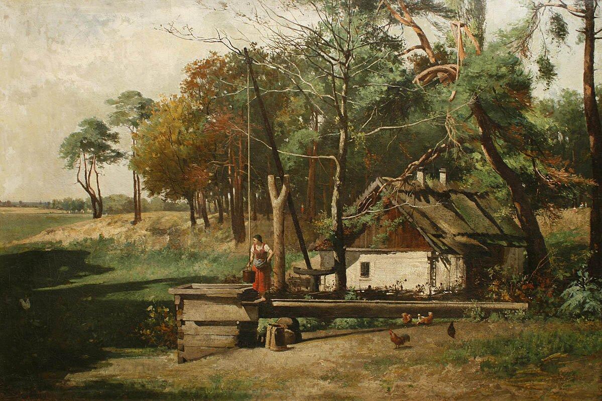 Pejzaż wiejski Pejzaż realistyczny Źródło: Antoni Gramatyka, Pejzaż wiejski, 1880, domena publiczna.