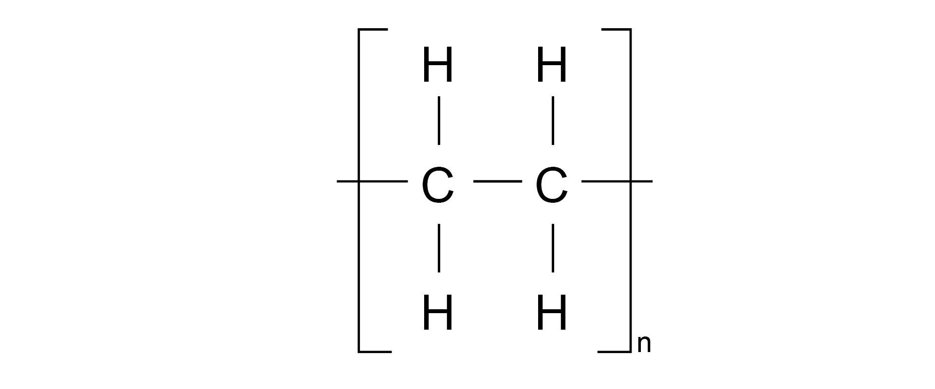Ilustracja pokazuje wzór strukturalny polietylenu.