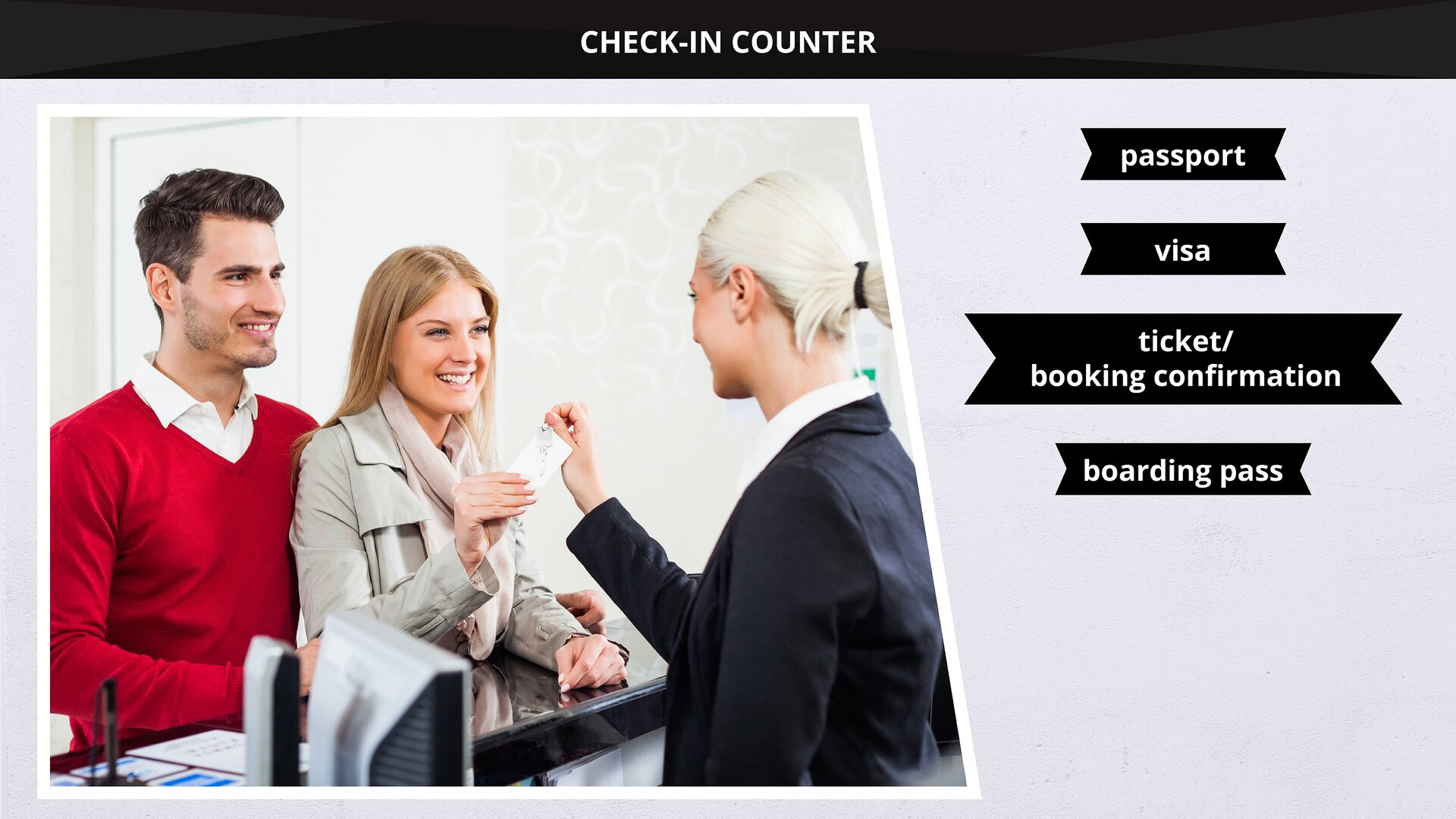 The image presents people at acheck-in counter. Grafika przedstawia osoby przy stanowisku check-in.