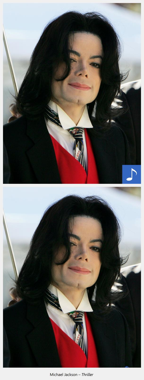 Ilustracja interaktywna przedstawiająca Michaela Jacksona zdługimi ciemnymi włosami, mocno zaznaczonymi czarnym makijażem oczami. Widoczny jest od piersi wgórę, ma czarną marynarkę, białą koszulę, czerwoną kamizelkę iczarno-biały krawat. Po kliknięciu kursorem myszki wgrafikę odtworzony zostaje utwór muzyczny oraz wyświetlona informacja: Michael Jackson-Triller.