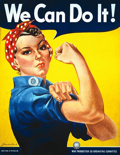 We Can Do It! Źródło: J. Howard Miller, We Can Do It!, 1942, plakat propagandowy, domena publiczna.