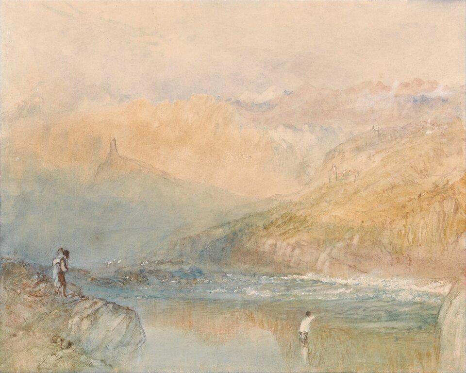Nad Mozellą Źródło: J.M.W. Turner, Nad Mozellą, ok. 1841, akwarela, Yale Center for British Art, New Haven, domena publiczna.