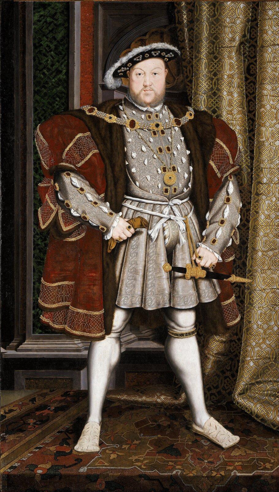 Król Henryk VIII Źródło: anonimowy artysta, Król Henryk VIII , XVI wiek, domena publiczna.
