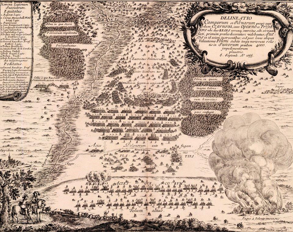 Samuel von Pufendorf, Oczynach Karola Gustawa, króla Szwecji, komentarzy ksiąg siedem, Norymberga 1696 15 września 1655 rokudo Żarnowa dotarły wojska koronne ipospolite ruszenie. Król polski postanowił przyjąć bitwę, jednak duża przewaga ogniowa nieprzyjaciela nie pozwoliła na zdobycie przewagi, mimo że jazda polska mogła atakować zgóry. Po ataku jazdy szwedzkiej armia koronna rozpoczęła odwrót. Pospolite ruszenie rozeszło się do domów. Część wojska ze Stefanem Czarnieckim ikrólem Janem Kazimierzem ruszyła do Krakowa, jednak część, którą dowodził hetman polny koronny Stanisław Lanckoroński, przyłączyła się do Karola Gustawa. Źródło: Erik Dahlbergh, Samuel von Pufendorf, Oczynach Karola Gustawa, króla Szwecji, komentarzy ksiąg siedem, Norymberga 1696, 1655, domena publiczna.