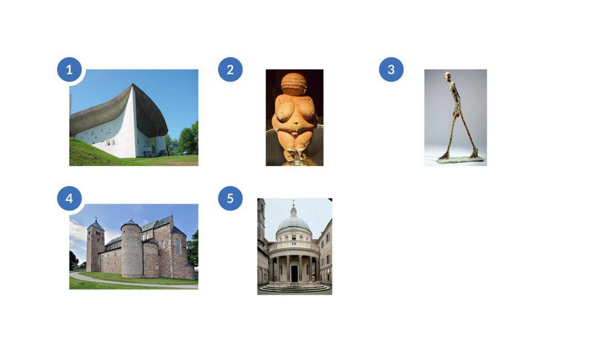 Zdjęcie znumerem 1 to masywna budowla zbiałą elewacją iciemnym nieregularnym dachem. Budynek ma wiele bardzo małych otworów okiennych. Drugie zdjęcie znumerem 2 przedstawia rzeźbę przypominająca kobietę oznacznej posturze wkolorze pomarańczowego piasku. Kobieta jest naga. Rzeźba jest zwarta, bez wyraźnych szczegółów. Nie widać elementów twarzy. Zdjęcie znumerem 3 to rzeźba postaci onieproporcjonalnie długich icienkich nogach. Postać wydaje się jakby była wruchu, ręce ma opuszczone wzdłuż tułowia. Prawa noga stawia krok, alewa jest ztyłu. Zdjęcie numer 4 to budowa kościelna oznacznej wysokości iwyglądająca na masywną. Posiada dwie wieże przylegające do budynku. Jedna jest wkształcie prostokątna ina jej szczycie umieszczony jest krzyż. Druga wieża jest okrągła. Wgórnej części budynku jest ciąg okien. Zdjęcie numer 5 to kaplica Donate Bramante, Tempietto. Kaplica jest okrągła, aupodstaw znajduje się kilka małych schodów. Centralny korpus, celle zawierającą relikwiarz, wieńczy kopuła iotacza pierścień kolumn. Korpus otaczają toskańskie kolumny.