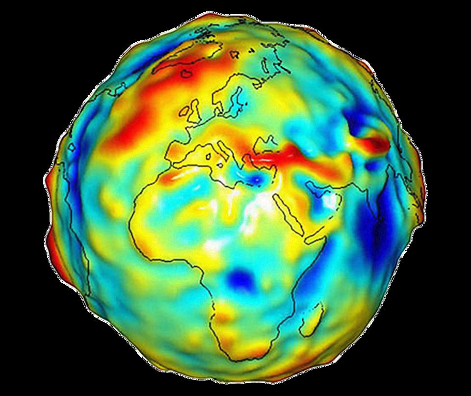 Ilustracja przedstawia kulę ziemską. Jest to geoida. Nieregularna bryła zbliżona do kuli. Na powierzchni zaznaczone są kontury kontynentów. Powierzchnia geoidy jest nierówna. Zniekształcenia są zaznaczone kolorami. Najniżej położone punkty to kolor niebieski. Najwyżej – to kolor czerwony.