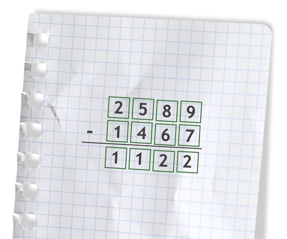Przykład: 2589 - 1467 =1122. Rozwiązanie zadania podpunkt e.