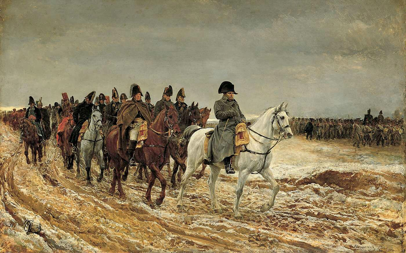 Kampania francuska 1814 Źródło: Jean-Louis-Ernest Meissonier, Kampania francuska 1814, 1864, olej na desce, Musée d'Orsay, Paryż, domena publiczna.