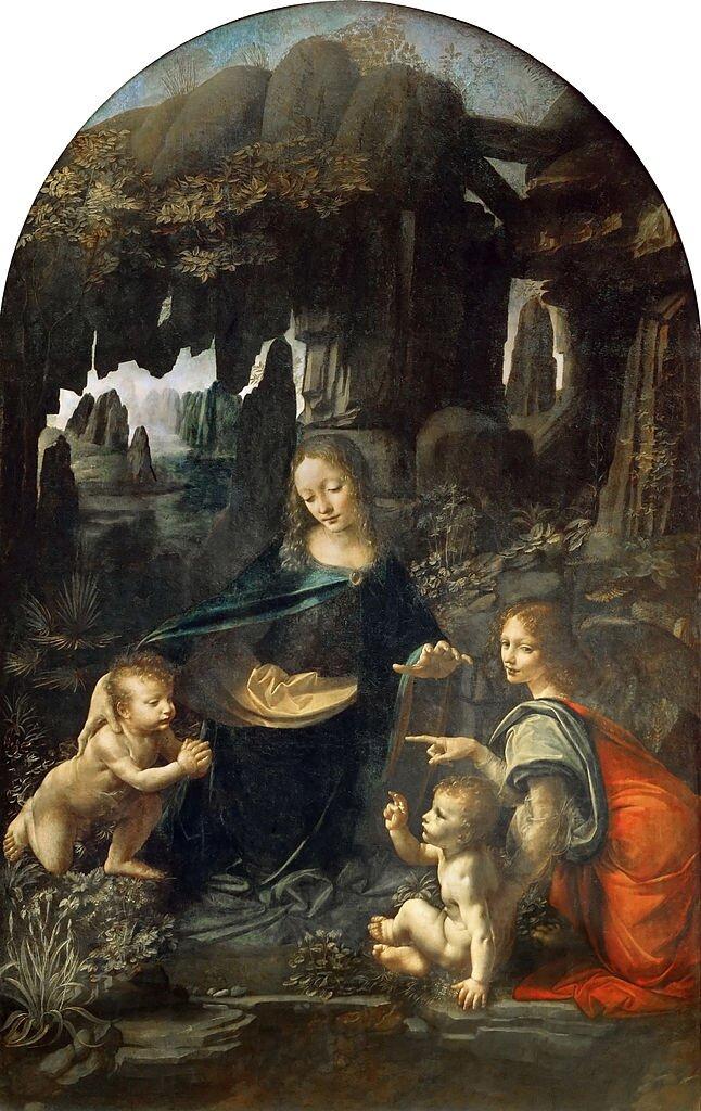 Madonna wgrocie Źródło: Leonardo da Vinci, Madonna wgrocie, ok. 1483–1486, olej na płótnie, Luwr, Paryż, domena publiczna.