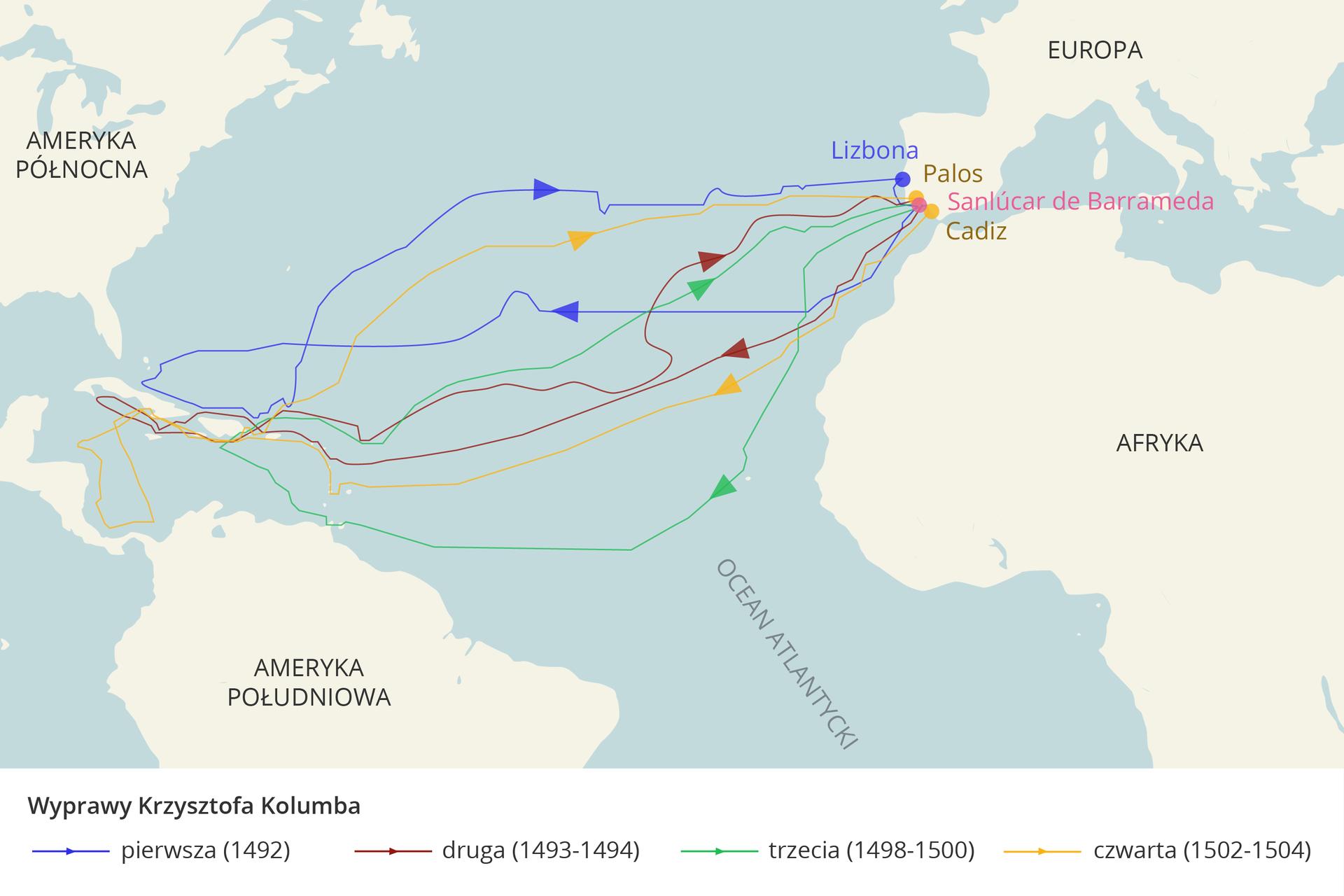 Ilustracja prezentuje mapę zoznaczonymi trasami wypraw Krzysztofa Kolumba. Trasy kolejnych wypraw oznaczono kolorami: pierwsza – niebieska, druga – brązowa, trzecia – zielona, czwarta – żółta. Wszystkie wyprawy rozpoczynają się wPortugalii, poprzez Ocean Atlantycki do wybrzeży Kuby, Haiti, Jamajki, Trynidadu iAmeryki Środkowej.
