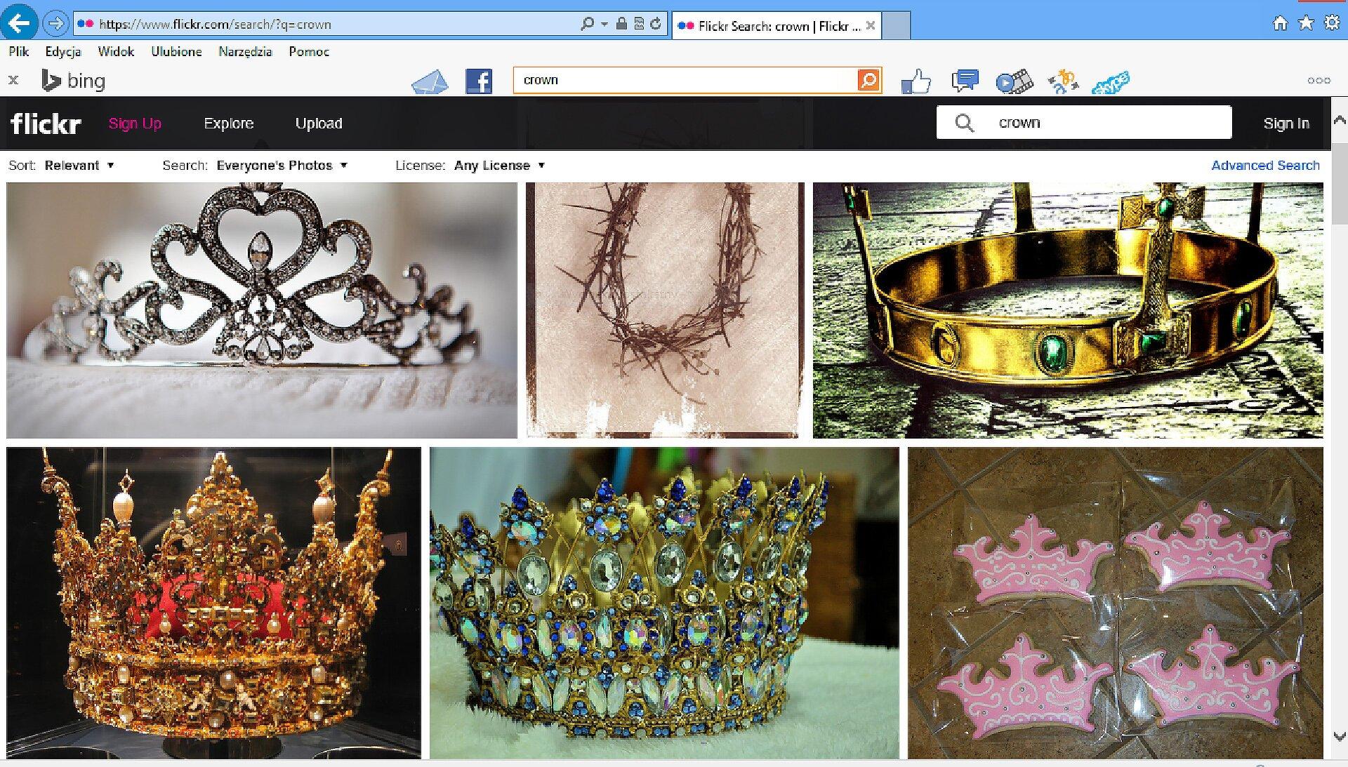 Zrzut okna strony http://www.flickr.com/search zwpisanym wokienku wyszukiwania słowem: crown