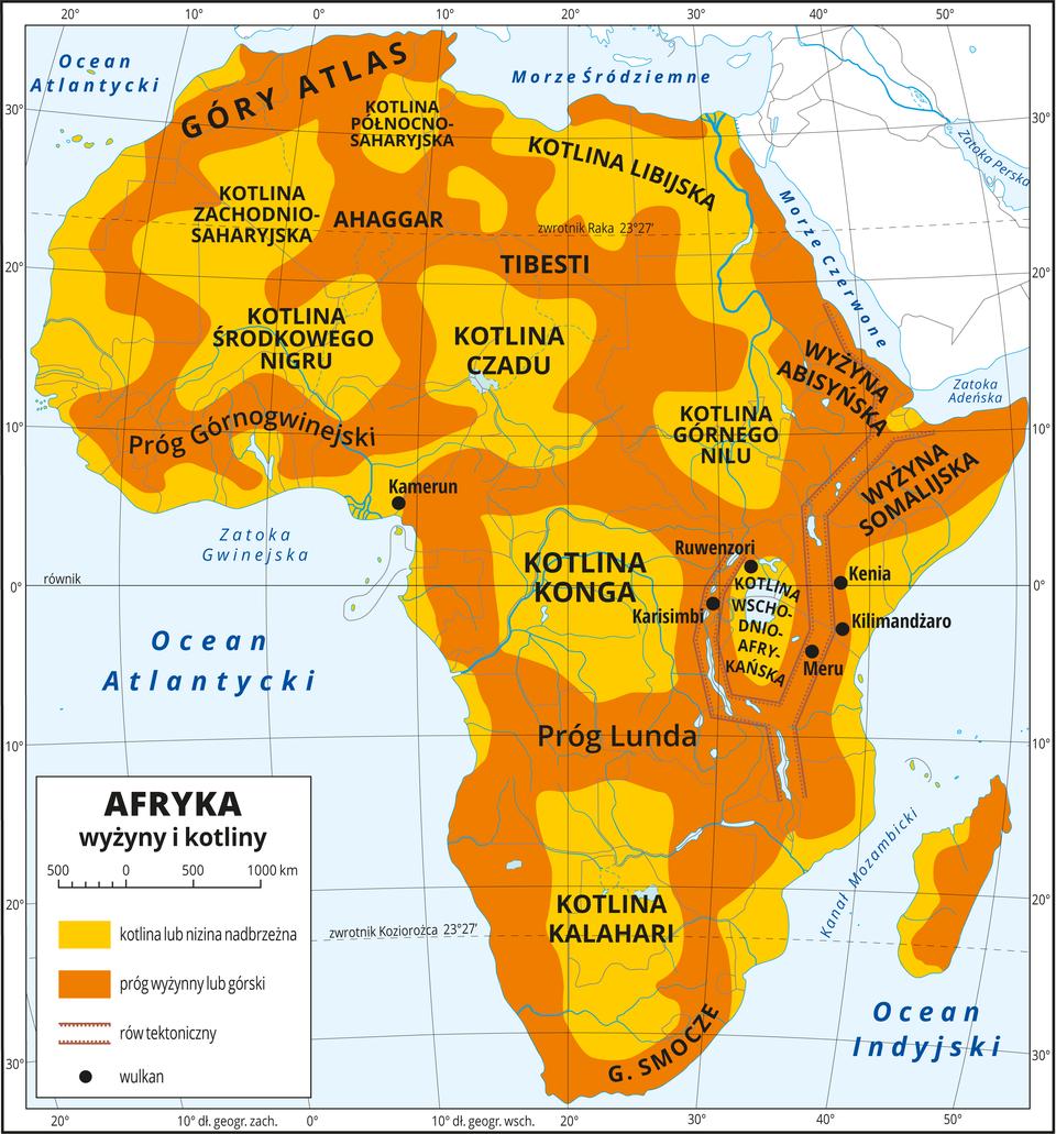 Ilustracja przedstawia mapę Afryki. Kolorem ciemnopomarańczowym oznaczono progi wyżynne igórskie, akolorem jasnopomarańczowym – kotliny iniziny. Niziny są położone na wschodnich izachodnich wybrzeżach, akotliny są rozmieszczone na terenie całego kontynentu iotoczone przez przylegające do nich tereny wyżynne lub górskie. Wszystkie formy są opisane, na przykład wcentrum kontynentu jest Kotlina Kongo, ana południu Kotlina Kalahari. We wschodniej części Afryki jest rów tektoniczny zaznaczony na mapie linią, awjego obrębie jest pięć wulkanów, między innymi Kilimandżaro. Dookoła mapy wbiałej ramce opisano współrzędne geograficzne co dziesięć stopni. Wlegendzie umieszczono iopisano kolory iznaki użyte na mapie.