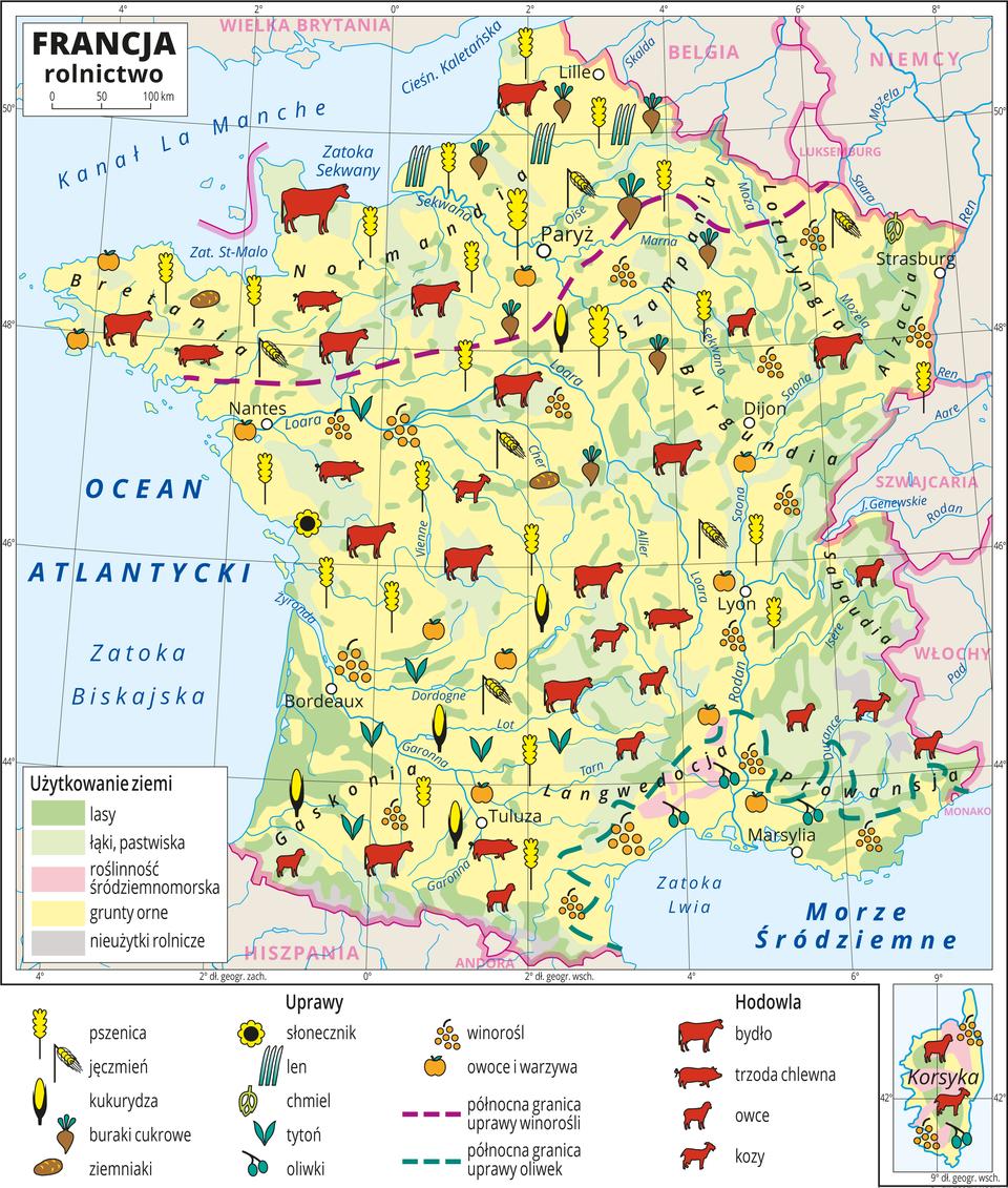 Ilustracja przedstawia mapę rolnictwa Francji. Kolorem żółtym przedstawiono grunty orne, jasnozielonym – łąki ipastwiska, zielonym lasy, różowym roślinność śródziemnomorską iszarym nieużytki rolnicze (Alpy iPireneje). Na mapie sygnatury obrazujące uprawy roślin (pszenica, jęczmień, kukurydza, buraki cukrowe, ziemniaki, słonecznik, len, chmiel, tytoń, oliwki, winorośl, owoce iwarzywa) oraz hodowlę zwierząt (bydło, trzoda chlewna, owce, kozy). Sygnatury rozmieszczone równomiernie na terenie całego kraju. Wosobnym kartonie Korsyka. Mapa zawiera południki irównoleżniki, dookoła mapy wbiałej ramce opisano współrzędne geograficzne co dwa stopnie.