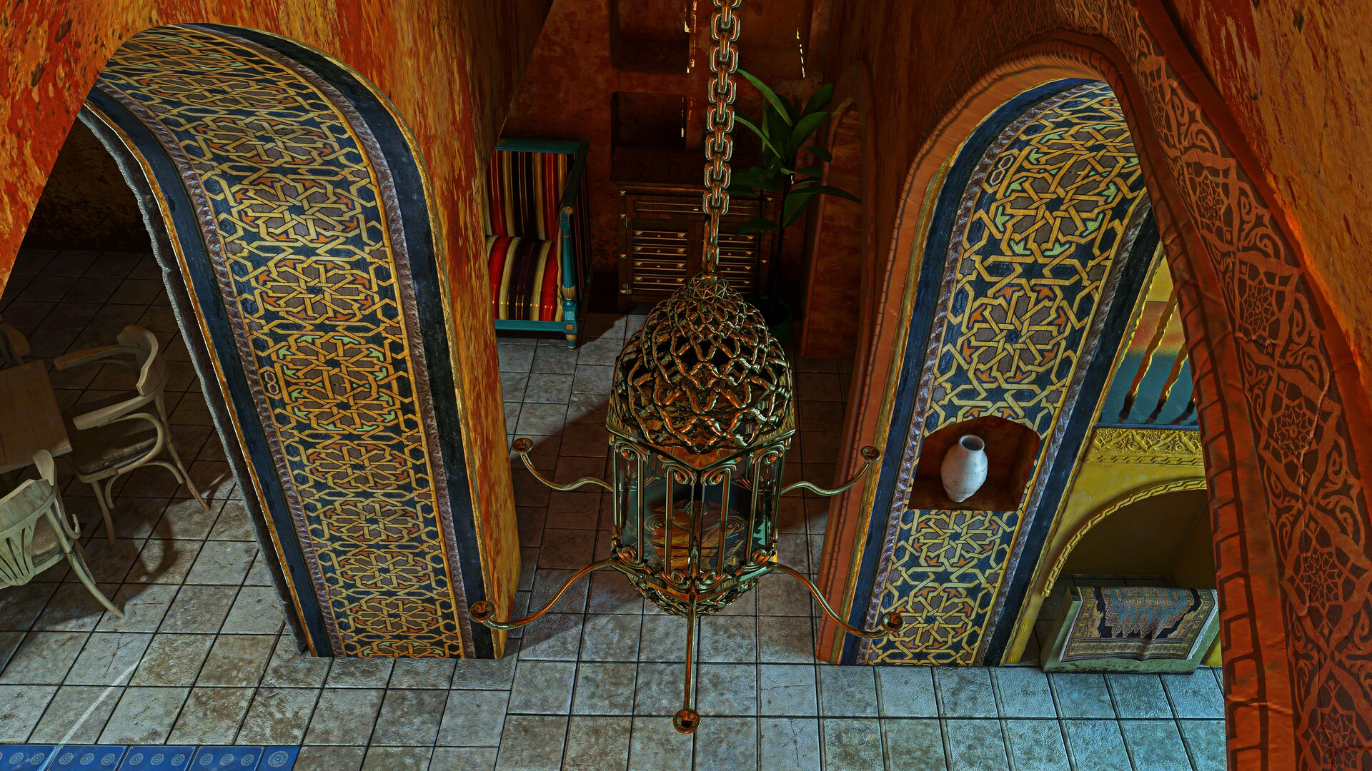 Ilustracja przedstawia wewnętrzną architekturę arabską. Ukazuje ona bogato zdobione portale. Na pierwszym planie znajduje się wiszący żyrandol.