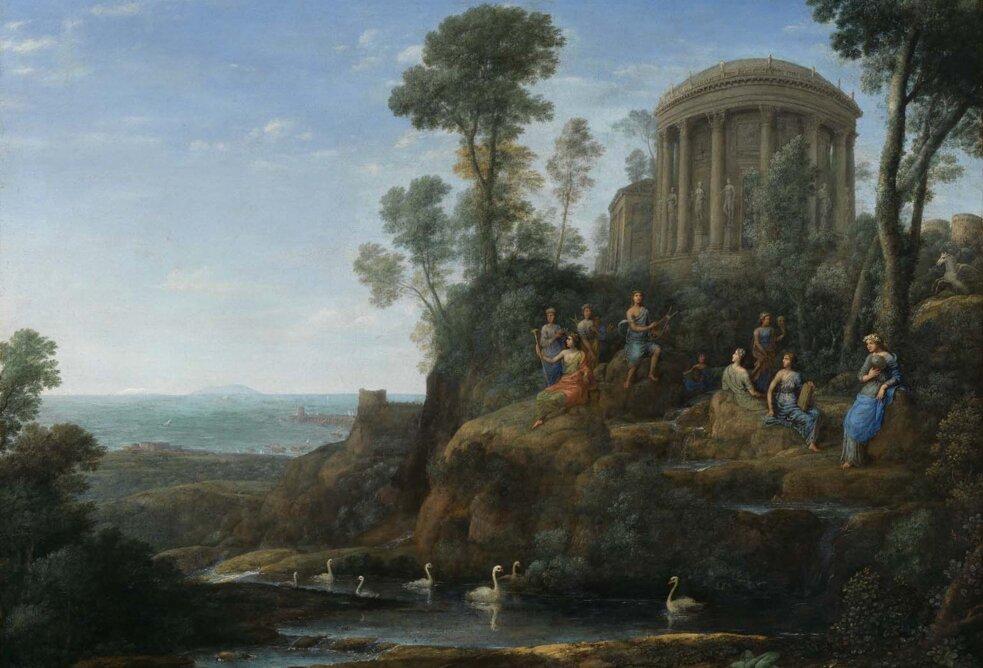 Apollo iMuzy na Parnasie Francuski XVII-wieczny malarz, Claude Lorrain tak przedstawił Apollina iMuzy na Parnasie. Zwróć uwagę na ptaki pływające ustóp góry. Poszukaj wwierszach Horacego iKochanowskiego tych fragmentów, które odnoszą siędo ptaków namalowanych później przez Francuza. Źródło: Claude Lorrain, Apollo iMuzy na Parnasie, 1680, olej na płótnie, Muzeum Sztuk Pięknych wBostonie, domena publiczna.