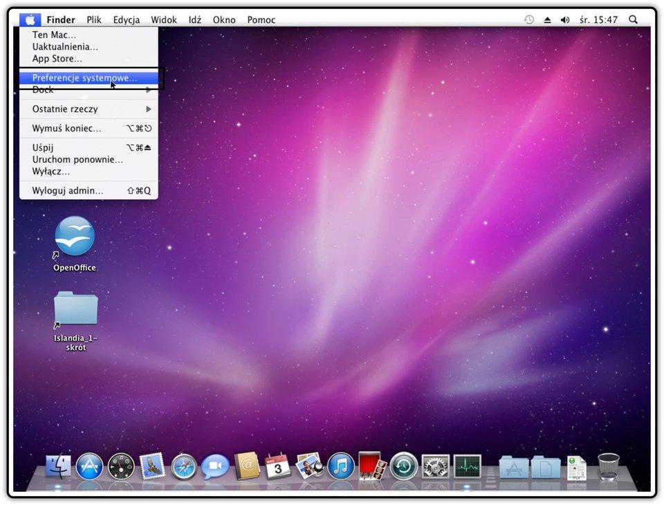 Ilustracja przedstawiająca: Krok 1 udostępniania plików wsystemie Mac OS X