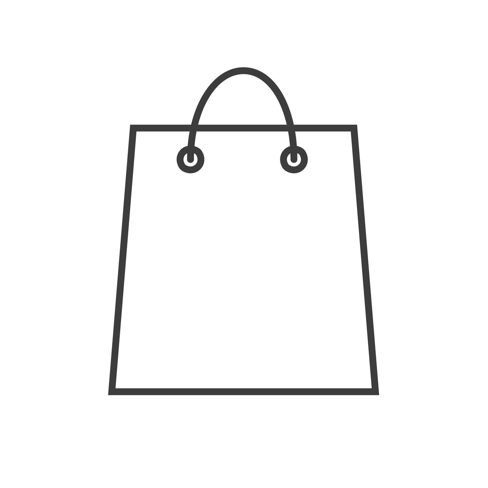 zdjęcie przedstawia kontur torby na zakupy. Ma ona trapezowy kształt. Wgórnej części znajdują się dwa otwory, przez które przełożone są rączki.