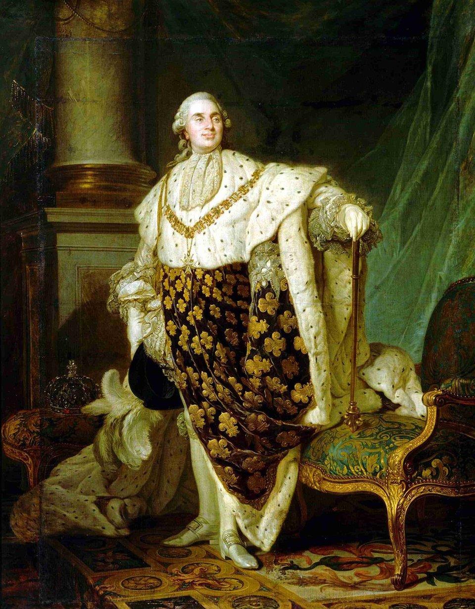 Ludwik XVI wszatach koronacyjnych Źródło: Joseph-Siffrein Duplessis, Ludwik XVI wszatach koronacyjnych, 1777, Olej na płótnie, Carnavalet Museum, domena publiczna.