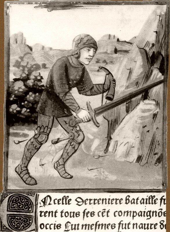Roland próbuje złamać miecz Pochodząca zXV wieku miniatura przedstawia rycerza trzymającego miecz iróg. Wskaż, którą zprzytoczonych strof Pieśni oRolandzie mógłby ilustrować ten obraz. Uzasadnij odpowiedź. Źródło: Roland próbuje złamać miecz, 1493, domena publiczna.