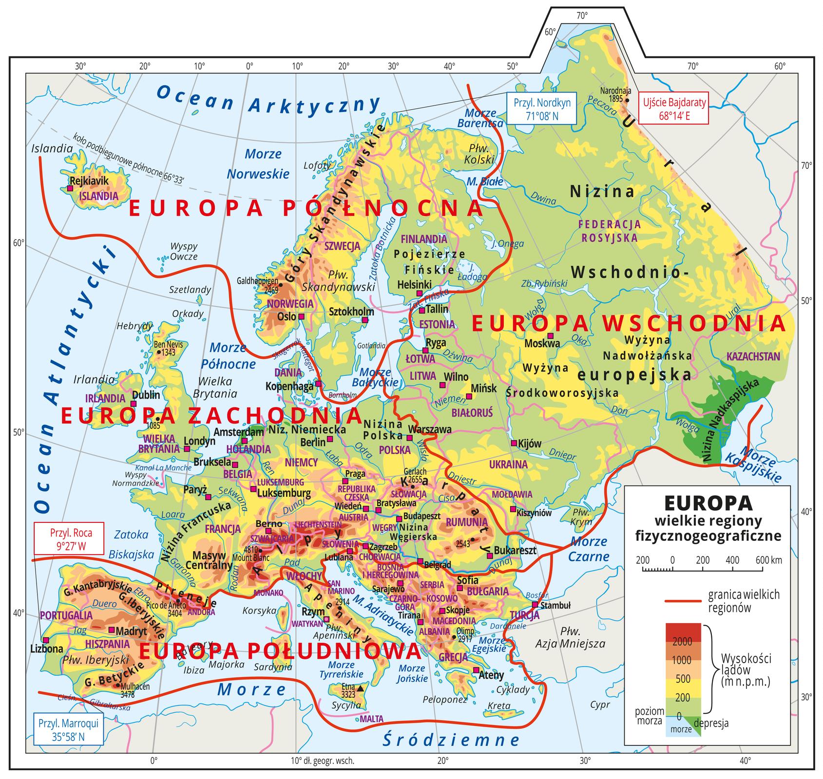 Ilustracja przedstawia mapę hipsometryczną Europy. Wobrębie lądów występują obszary wkolorze zielonym, żółtym, pomarańczowym iczerwonym. Morza zaznaczono kolorem niebieskim. Na mapie opisano nazwy półwyspów, wysp, nizin, wyżyn ipasm górskich, mórz, zatok, rzek ijezior. Oznaczono iopisano główne miasta. Oznaczono czarnymi kropkami iopisano szczyty górskie. Mapa pokryta jest równoleżnikami ipołudnikami. Podano współrzędne geograficzne skrajnych punktów: zachód – Przyl. Roca 9°27' W, południe – Przyl. Marroqui 35°58' N, północ – Przyl. Nordkyn 71°08' N, wschód – Ujście Bajdaraty 68°14' E. Czerwonymi liniami oddzielono wielkie regiony fizycznogeograficzne: Europa Północna, Europa Zachodnia, Europa Południowa, Europa Wschodnia. Mapa zawiera południki irównoleżniki, dookoła mapy wbiałej ramce opisano współrzędne geograficzne co dziesięć stopni.