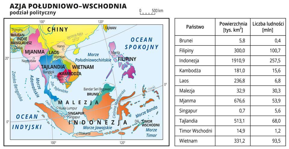 Ilustracja przedstawia mapę polityczną Azji Południowo-Wschodniej. Państwa wyróżnione kolorami iopisane. Oznaczono iopisano stolice. Morza ioceany zaznaczono kolorem niebieskim iopisano. Mapa pokryta jest równoleżnikami ipołudnikami. Dookoła mapy wbiałej ramce opisano współrzędne geograficzne co dwadzieścia stopni.