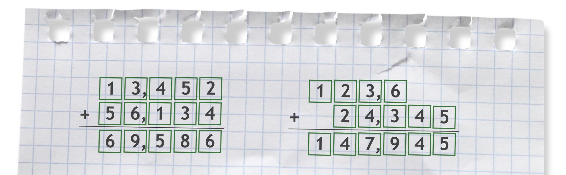 Przykłady dodawania sposobem pisemnym. Przykład pierwszy: 13,452 +56,134 =69,586. Przykład drugi: 123,6 +24,345 = 147,945. Cyfry całości zapisane są pod całościami, części dziesiętne pod częściami dziesiętnymi, części setne pod częściami setnymi, części tysięczne pod częściami tysięcznymi, itd. Przecinek jednej liczby jest zapisany pod przecinkiem drugiej liczby.