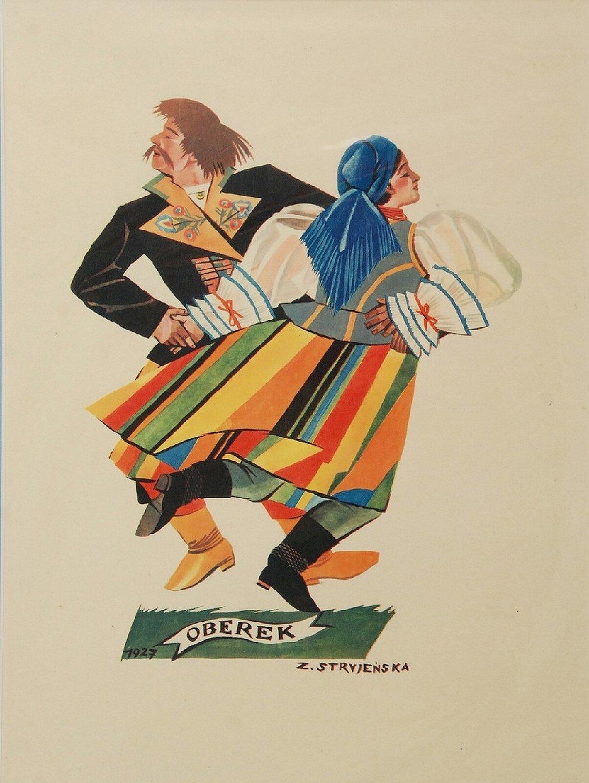 """Na ilustracji grafika Zofii Stryjeńskiej """"Oberek"""". Para przedstawiona podczas obrotu. Partnerka ma wystawioną do tyłu prawą nogę. Mężczyzna ubrany jest wczarny płaszcz zbogato zdobionym kołnierzem. Partnerka ma pasiastą, bardzo kolorową spódnicę, białą koszulę zniebieskimi lamówkami iszaro-błękitny gorsecik. Tancerka na głowie ma niebieską chustkę."""