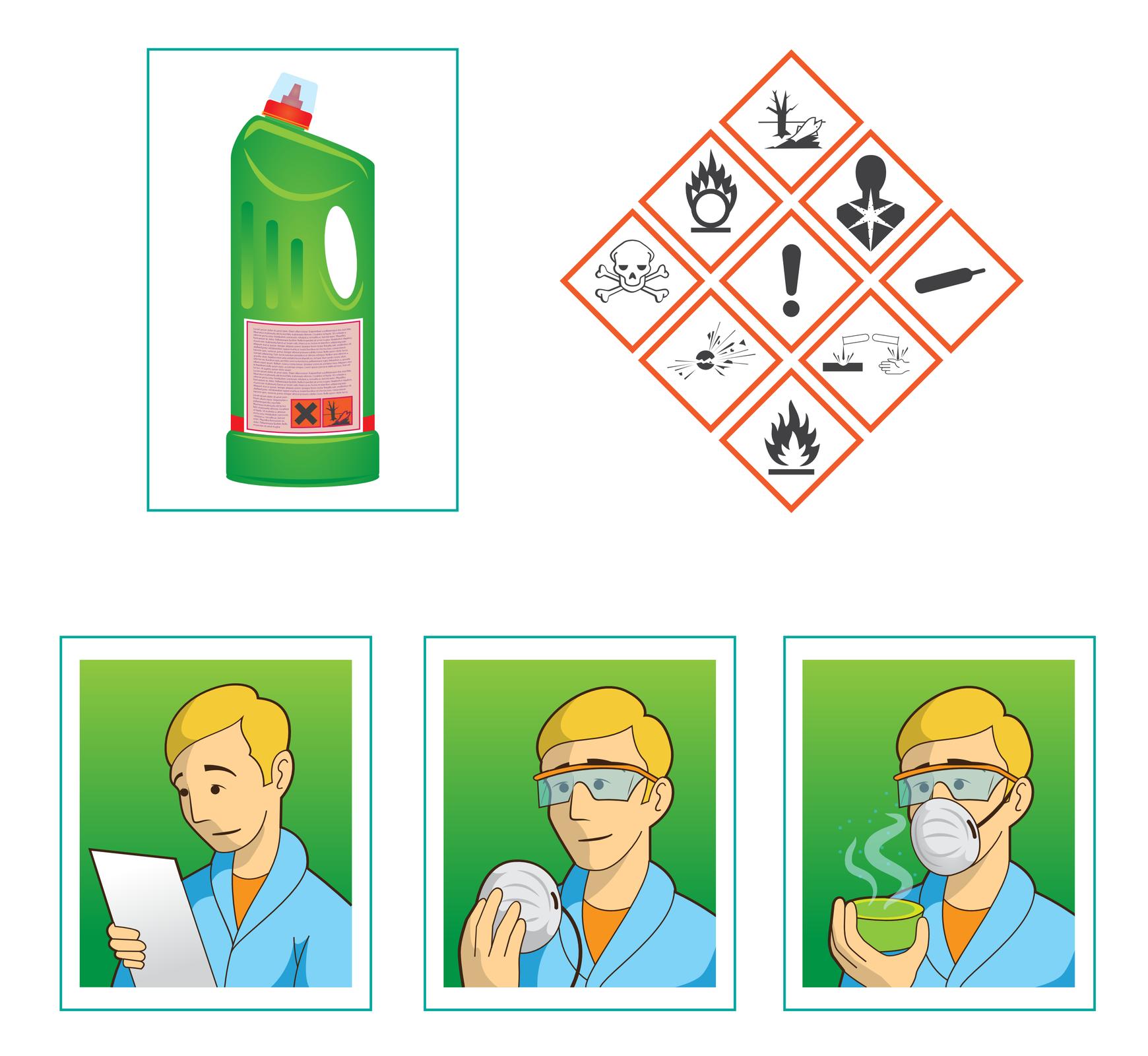 Ilustracja przedstawia sposób korzystania zostrzeżeń zawartych wkartach substancji chemicznych. Wlewym górnym rogu znajduje się rysunek typowej butelki zagresywnym płynem do czyszczenia, zwidoczną etykietką zawierającą znaki ostrzegawcze wstarej wersji, czyli na pomarańczowym tle. Obok po prawej widocznych jest dziewięć często spotykanych piktogramów wobecnie obowiązującej postaci, czyli białych rombów zczerwonym obrzeżem iczarnym rysunkiem. Same piktogramy również ułożone są wkształt rombu, co jest popularną metodą prezentacji tych znaków. Poniżej umieszczono komiksową ilustrację korzystania zpiktogramów. Trzy rysunki: na pierwszym człowiek czytający kartę produktu, na drugim ten sam człowiek biorący do rąk maskę mającą zabezpieczać przed oparami, na trzecim człowiek wmasce iokularach ochronnych trzymający wręce zielony pojemnik zparującą substancją.