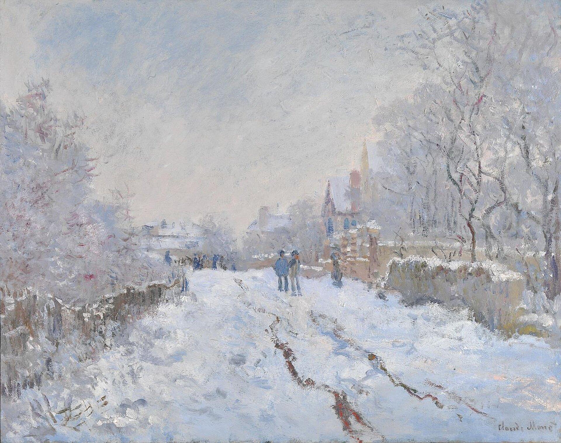 """Ilustracja przedstawia dzieło Claudego Moneta pt. """"Śnieg wArgenteuil"""". Monet przedstawił miasto wporze zimowej, ośnieżony chodnik oraz drzewa."""