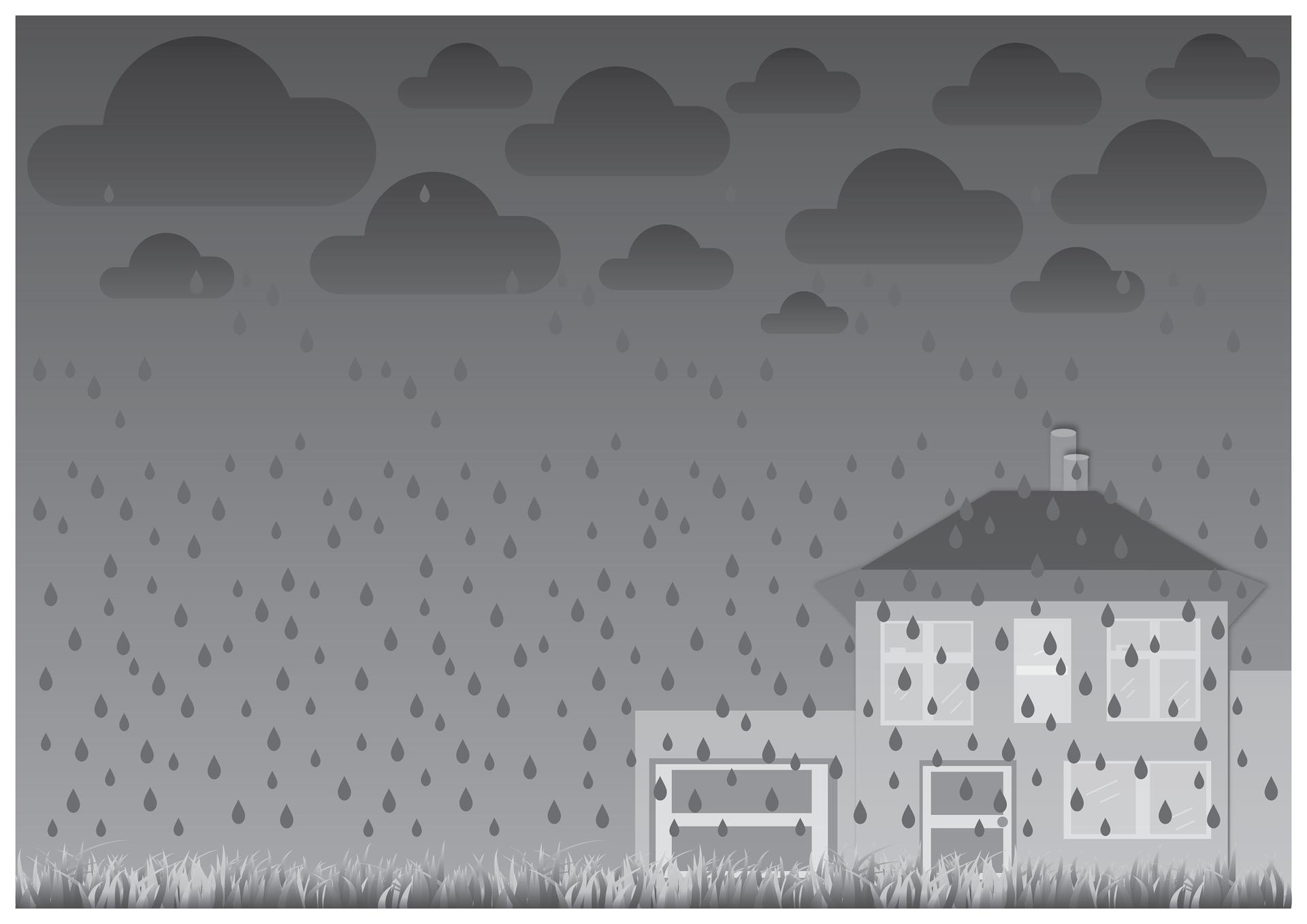 Szósta ilustracja wgalerii. Przedstawia czarno biały symboliczny rysunek domu jednorodzinnego zgarażem podczas deszczowej pogody. Niebo ciemne, zachmurzone. Padający gęsty deszcz zrasza trawnik widoczny na pierwszym planie.