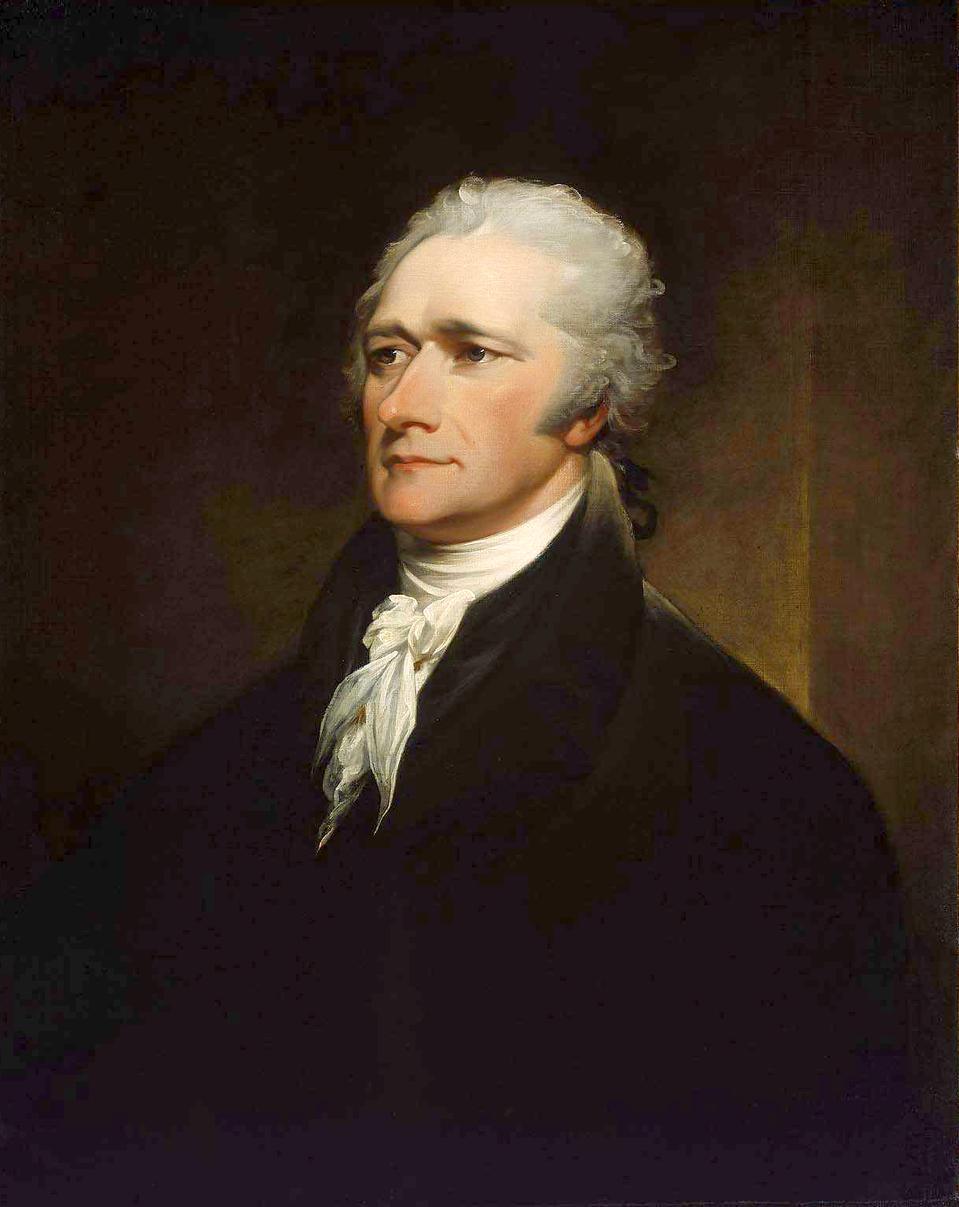 Alexander Hamilton Aleksander Hamilton, obraznamalowany w1806 r. przez Johna Trumbulla (1756-1843) – obecnie wMuzeum wBostonie Źródło: John Trumbull, Alexander Hamilton, 1806, Olej na płótnie, Museum of Fine Arts, Boston, domena publiczna.