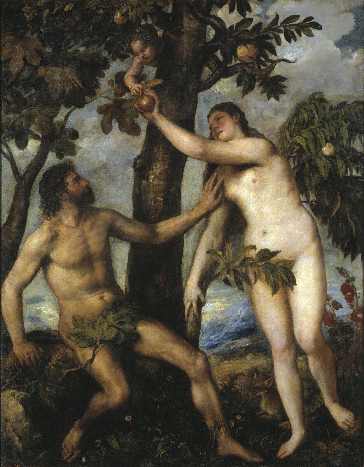 Adam iEwa Źródło: Tycjan, Adam iEwa, ok. 1550, olej na płótnie, Prado, Madryt, domena publiczna.